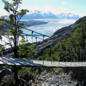 Finished Bridge with Grey Glacier in background