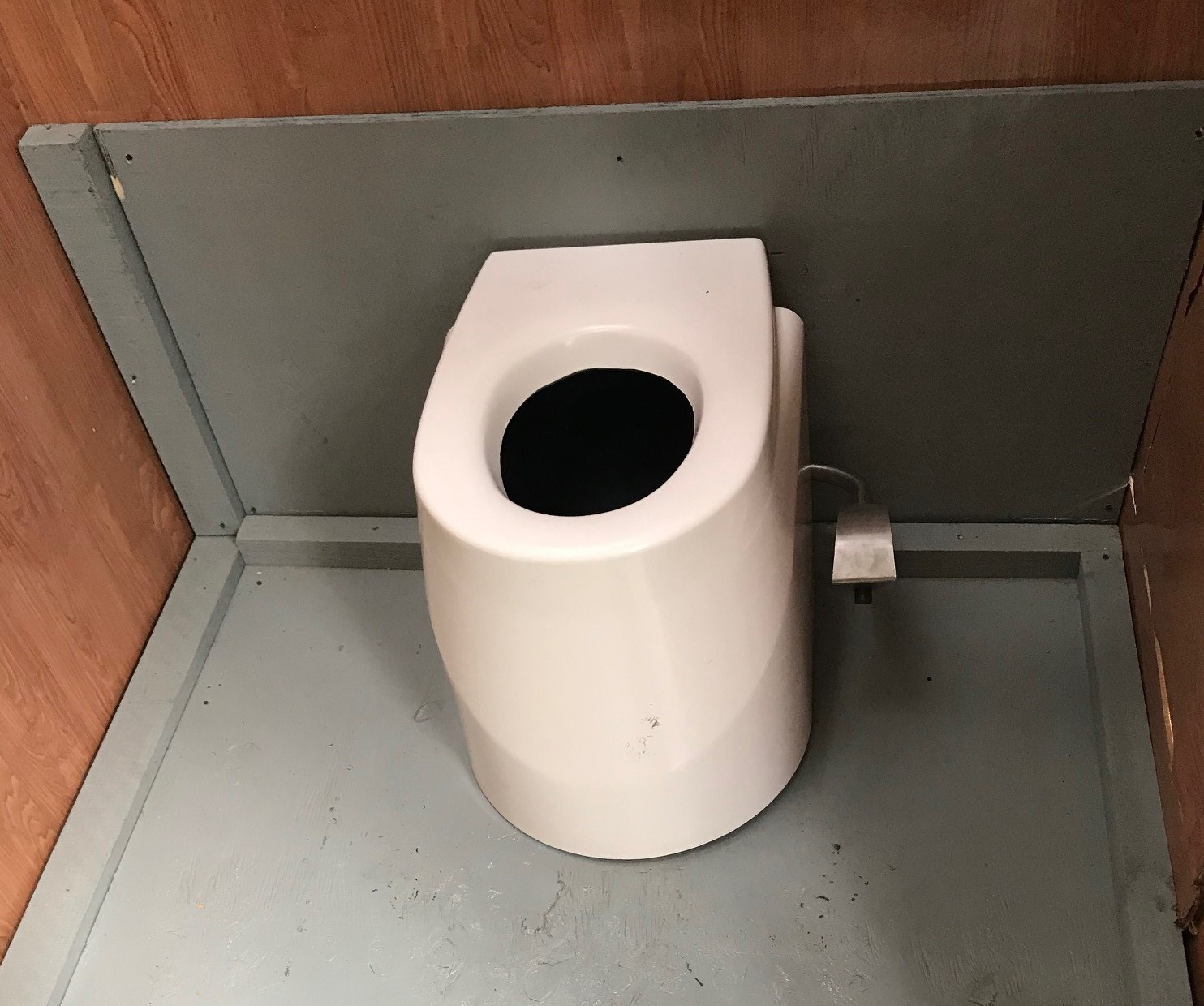 The new unit looks like a standard toilet on the input side